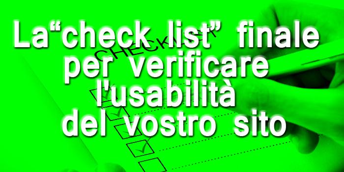 """La """"check list"""" per  verificare l'usability del tuo sito"""