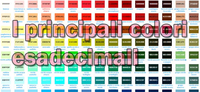 I principali colori esadecimali